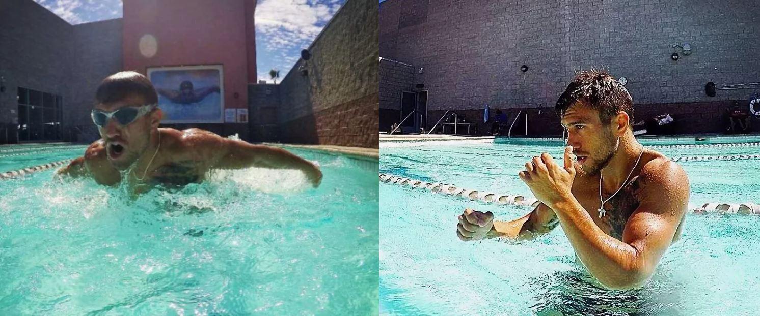 Тренировка Ломаченко в бассейне