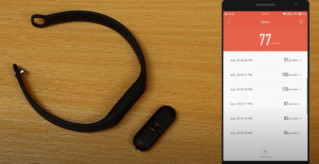 пульсометр фитнес браслета Xiaomi Mi Band 1s