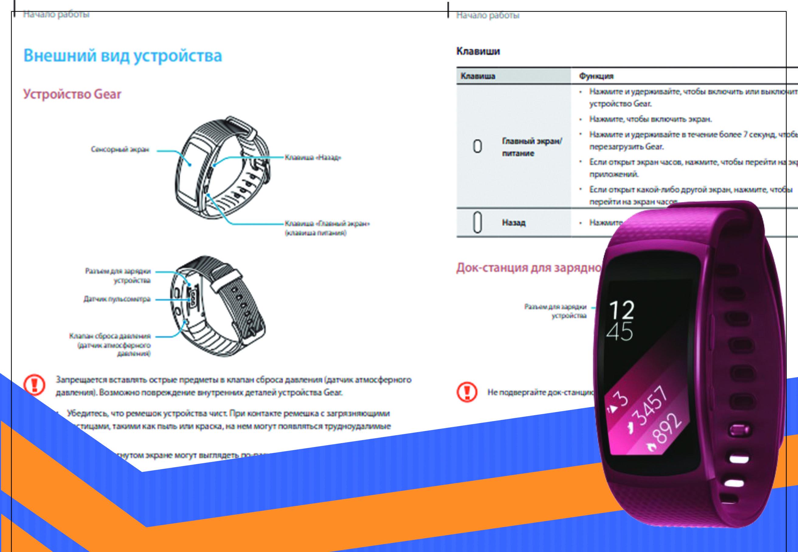Фитнес браслет Samsung Gear Fit инструкция на русском языке