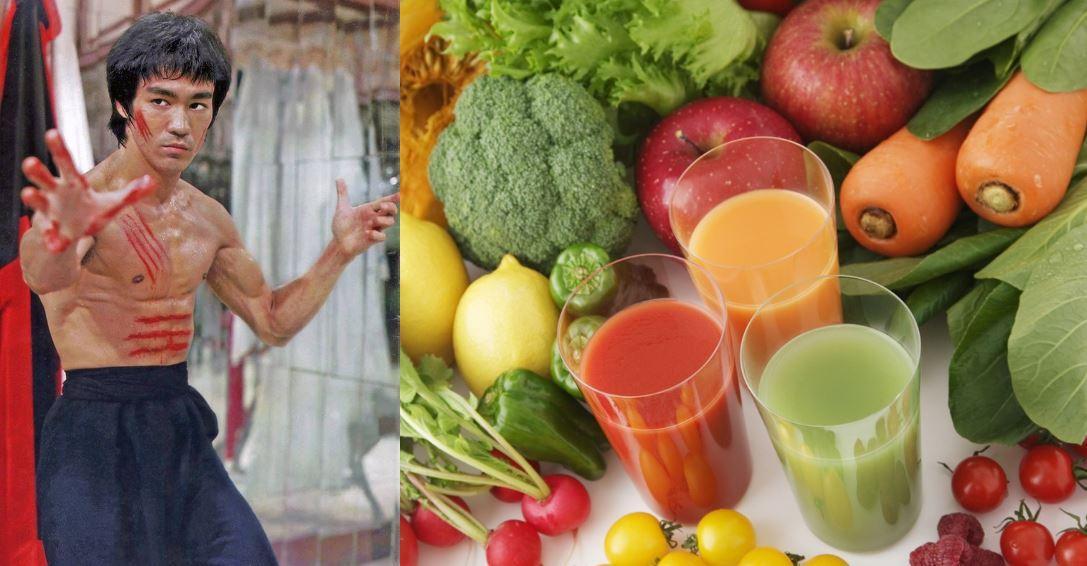 Рацион питания Брюса Ли. Сок из фруктов и овощей